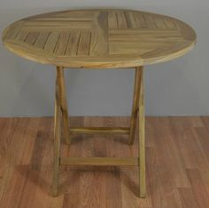 """Round Patio Folding Table 35.5"""" from Solid Teak Wood"""