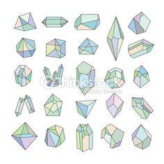 Vector Art : Set of crystals. Geometric shapes.