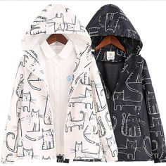 Black/white Cat Printing Hooded Jacket