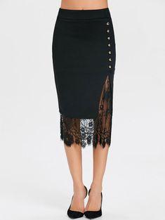 Lace Slit Oblique Button Midi Skirt - BLACK L