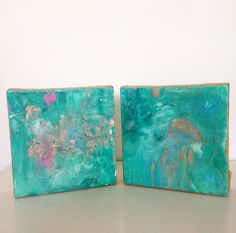Pair of 6 x 6 abstracts. Chandler Hines Art