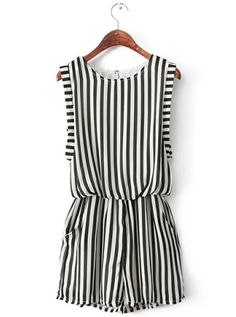 Striped Black & White Romper