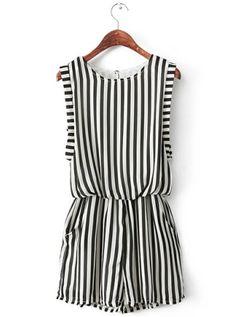 Striped Black & White Romper