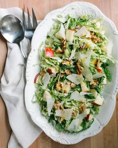 Thanksgiving ideas - Apple, Walnut and Savoy Cabbage Salad | A Couple Cooks