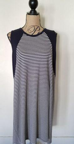 Karen Kane Contrast Yoke Dress Stripes Knit Plus Size 2X Blue Black Cream #KarenKane #Any