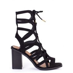 FORMATION BLACK LACE UP BLOCK HEEL SANDALS LAMODA ($40) ❤ liked on Polyvore featuring shoes, sandals, cutout sandals, lace up block heel sandals, black high heel sandals, high heel shoes and cut out sandals
