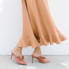 Dusty Rose Loeffler Randall Langley Ruffle Mules