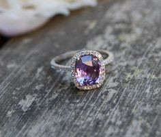2.6ct Cushion Plum color change sapphire 14k white gold diamond engagement ring. $3,000.00, via Etsy.