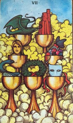 "7 of Cups from the Morgan Greer Tarot deck created by Bill Greer and Lloyd Morgan.  ""If you limit your choices only to what seems possible or reasonable, you disconnect yourself from what you truly want, and all that is left is compromise."" ~ Robert Fritz  #Tarot #TarotSingapore #makingchoices"