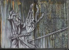 Ruth Beeley: St George's School, Hertfordshire England 2011. Sketchbook page for A Level Art Coursework final artwork, exploring the theme of war. Prisoners of war are depicted using biro pen on an ink and acrylic background.