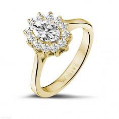 Geelgouden Diamanten Verlovingsringen - 1.00 caraat diamanten ring