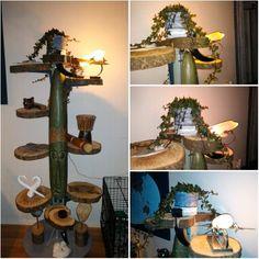 Bloempot met sloophout behang op tree of fantasy met boomstam schijven made by hieke en dubash fb dùbhie