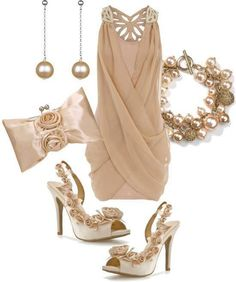classy outfit, white, tan, upscale, dress