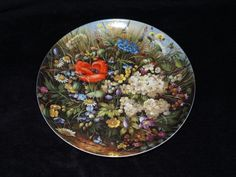 """1989 Furstenberg Wild Beauties """"By the Wayside"""" Collector Plate by Hans Grab by ThePlateHutchII on Etsy"""