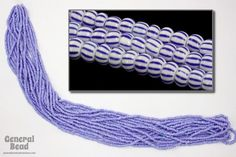 11/0 Opaque White/Blue Stripe Czech Seed Bead