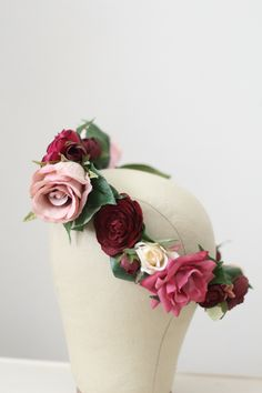 Custom Pink, Mauve, Burgundy and Cream Bridal Flower Crown by Love Sparkle Pretty http://lovesparklepretty.com/. Boho Flower Crown | Pink Flower Crown | Bridal Flower Crown | Red Flower Crown | Wine Flower Crown | Burgundy Flower Crown