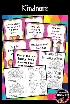 This Social Skills/Classroom Rules Reader will teach your students about what it takes to be kind to each other. A great addition for any K - 2 classroom! Includes: 1) A book that can be bound together or used as posters. This book explains what students need to do to be kind. 2) Student reader. Students fill in the missing words and colour in the pictures. © Tales From Miss D