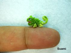 Micro Green Chameleon - Small Crochet Mini Amigurumi Miniature Tiny Animals - Made To Order by SuAmi on Etsy https://www.etsy.com/listing/94639905/micro-green-chameleon-small-crochet-mini