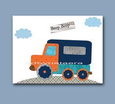 Lorry Auto Truck Nursery Baby Boy Nursery Decor Baby Nursery Print Children Art Print Nursery Print Boy Art Lorry Blue Gray Orange navy
