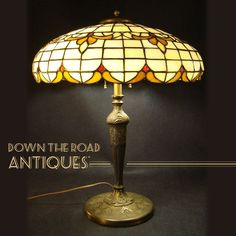 Lamb Bros. Leaded Glass Lamp 1920's  - Indiana