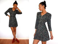 Vtg Dark Floral Pearly Button Down Front Mini Dress by LuluTresors, $29.99