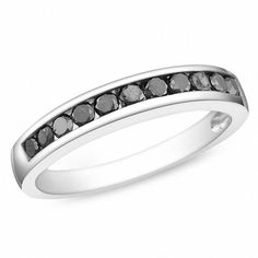 Zales 1/2 CT. T.W. Enhanced Black Diamond Anniversary Band in Sterling Silver