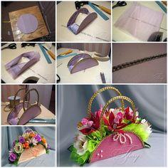 DIY Beautiful Handbag Style Flower Basket from Cereal Box  https://www.facebook.com/icreativeideas