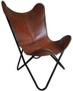 Vlinderstoel leer cognac bruin