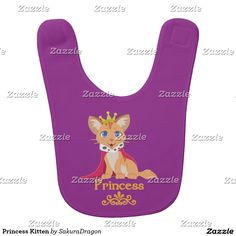 Princess Kitten Baby Bib #cats #pets #animals #princess #tabby