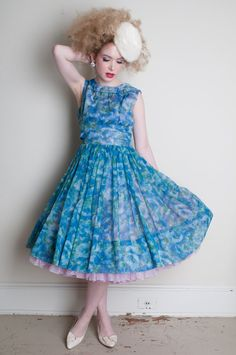 Vintage 1950s Gorgeous Blue Floral Chiffon Party Dress by RockAndRollVintage, $218.00