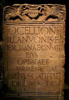 Roman gravestone.  For Ocellio, son of Illanuo,  his wife Exomna,  his daughter Optata  (and) his granddaughter Anna  Bienus, son of Gatus,  erected this stone in  grateful remembrance  at his own charge.
