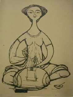 Dentellière. en 1953 de Aldemir MARTINS (brésilien 1922 - 2006)