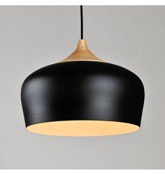 Suspension contemporaine en bois et métal noir avec fil rouge - Heda