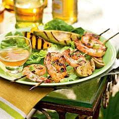 """This dish features a Vietnamese-style sauce known as """"nuoc cham"""" [noo-ahk CHAHM] that traditionally includes fish sauce, lime juice, chiles, and sugar Pork Rib Recipes, Grilled Shrimp Recipes, Grilled Fruit, Seafood Recipes, Cooking Recipes, Grilled Avocado, Shrimp Avocado, Shrimp Salads, Shrimp Kabobs"""