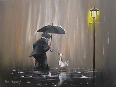 Original Canvas Painting By PETE RUMNEY. This is the original authentic painting and not a print, complete with certificate of authenticity signed by the British North East of England artist Pete Rumney. Art Original, Original Paintings, Art Paintings, Fun Signs, Hand Painting Art, Peta, Rainy Days, Art For Sale, Buy Art