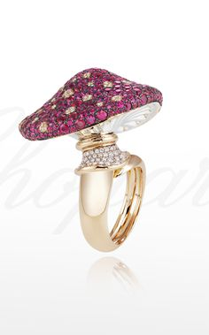 A magical mushroom ring set with #rubies