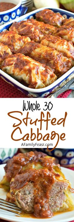 Stuffed Cabbage - A delicious stuffed cabbage recipe anyone would love w. Stuffed Cabbage – A delicious stuffed cabbage recipe anyone would love whether you are on Whole 30 Diet, Paleo Whole 30, Whole 30 Recipes, Simple Recipes, Paleo Recipes, Real Food Recipes, Cooking Recipes, Yummy Food, Pastry Recipes