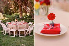 Backyard Wedding Place Settings