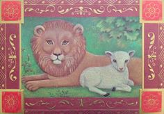 "Lion & Lamb Christmas card by Gibson. Inside message = ""Hope the holidays bring you many moments to enjoy the beauty of the season and the miracles of God's creation."""