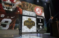 NFL Draft 2015: 2015 NFL draft, Pick 4: The Oakland Raiders added a much-needed playmaker in Alabama wide receiver Amari Cooper with the No. 4 pick. Cooper fits the right size (6-1, 211) and speed (4.42 in the 40) to blossom into a bona-fide No. 1 wide receiver at the next level. He won the Biletnikoff Award as the nation's best receiver in 2014, when he led the nation with 124 receptions for 1,727 yards and 16 touchdowns. (AP Photo/Charles Rex Arbogast)