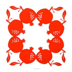 pomegranate 12x12 inches. Original design, hand-cut by Jenny Lee Fowler.