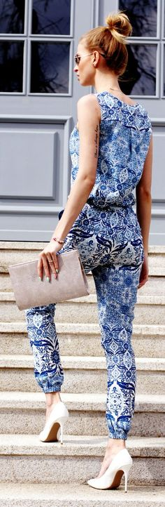 Paisley Print Jumpsuit Summer Streetstyle by Beauty - Fashion - Shopping