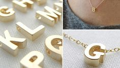 Gold Initial Necklace.