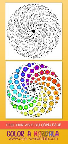 This swirly dots mandala was inspired by the dot mandalas painted on rocks. This coloring page is free and fun to color in. Art by The Mandala Girl at. Mandala Art Lesson, Mandala Artwork, Mandala Drawing, Mandala Painting, Rock Painting Patterns, Dot Art Painting, Abstract Art, Dot Painting On Rocks, Mandala Dots