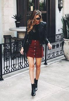 date night outfit Winter Date Night Outfits fr diese Saison, Winter Date Night Outfits, Winter Skirt Outfit, Fall Outfits, Casual Outfits, Party Outfits, Outfits 2016, Suade Skirt Outfit, Outfits Date, Maroon Skirt Outfit