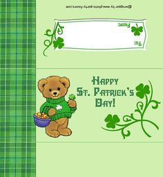 Free Printable St. Patrick's Day Teddy Bear Candy Bar Wrapper (fits a 1.55 oz. bar), ready to personalize with your message.