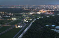 A U.S. border wall tops a levee near the Rio Grande at the U.S.-Mexico border...