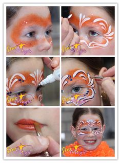 oranje schminken Mask Face Paint, Face Paint Makeup, Diy Makeup, Girl Face Painting, Painting For Kids, Diy Painting, Easy Face Painting Designs, Face Painting Tutorials, Body Painting Festival
