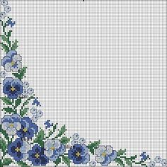 U Cross Stitch Borders, Cross Stitch Flowers, Cross Stitch Patterns, Crochet Flower Patterns, Crochet Flowers, Pansies, Baby Knitting, Diy And Crafts, Blankets