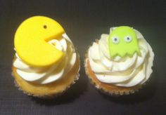 PACMAN and ghost cupcake fondant toppers! https://www.etsy.com/shop/CuteFondant?ref=si_shop